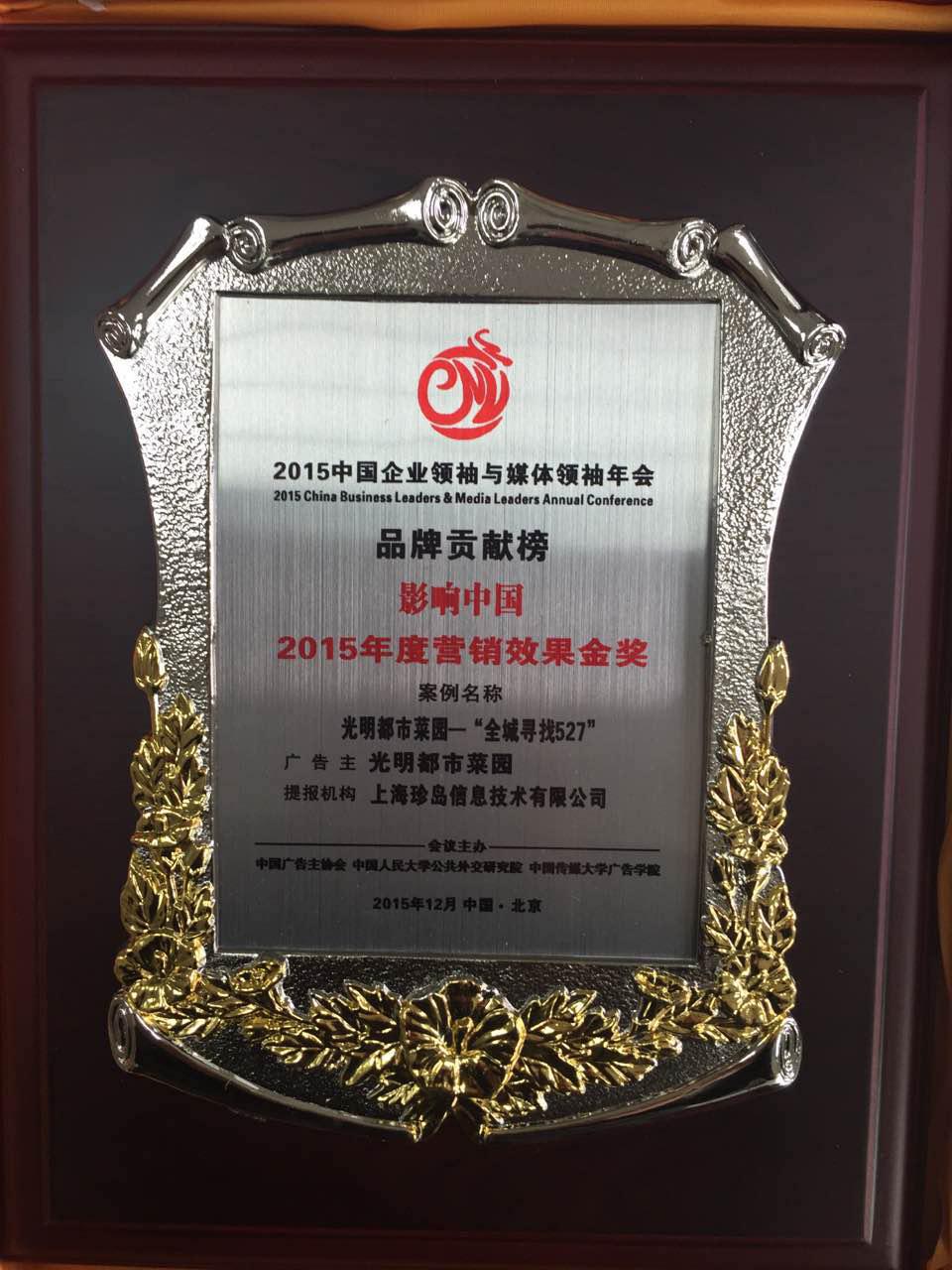 影响国外2015年度营销结果金奖—光亮527
